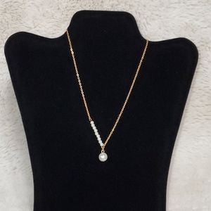 Girl's Faux Pearl Charm Necklace